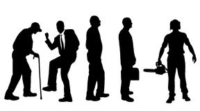 Vector silhouettes of different men. Royalty Free Stock Image