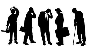 Vector silhouettes of different men. Royalty Free Stock Photo