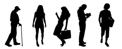 Vector silhouettes of different people. Royalty Free Stock Images
