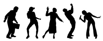 Vector silhouettes of different people. Royalty Free Stock Photography