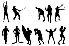 Vector silhouettes of different people. Stock Photos