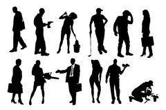 Vector silhouettes of different people. Royalty Free Stock Photos