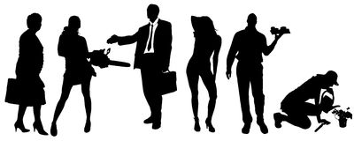 Vector silhouettes of different people. Vector silhouettes of different people on a white background Stock Photography