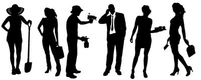 Vector silhouettes of different people. Vector silhouettes of different people on a white background Stock Photos