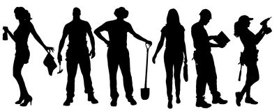 Vector silhouettes of different people. Vector silhouettes of different people on a white background Stock Images
