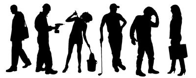 Vector silhouettes of different people. Vector silhouettes of different people on a white background Royalty Free Stock Image