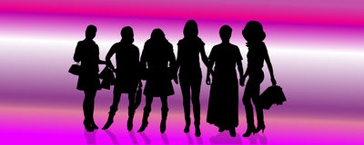 Vector silhouettes of different women. Royalty Free Stock Photo