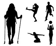 Vector silhouettes of different women. Royalty Free Stock Images