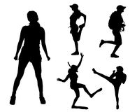 Vector silhouettes of different women. Stock Photography