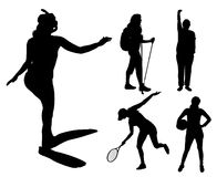 Vector silhouettes of different women. Royalty Free Stock Photos