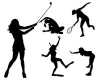 Vector silhouettes of different women. Royalty Free Stock Photography