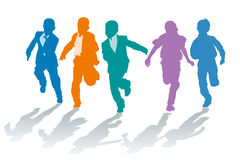 School boys competing in speed. Vector silhouettes of elementary school boys competing in speed royalty free illustration