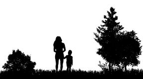 Vector silhouettes of family. Royalty Free Stock Images