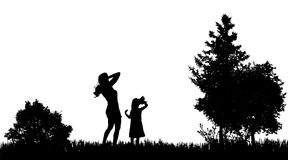 Vector silhouettes of family. Royalty Free Stock Photography