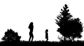Vector silhouettes of family. Stock Images