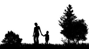 Vector silhouettes of family. Stock Photos