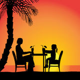 Vector silhouettes of family. Vector silhouettes of family sitting at the table Stock Photography