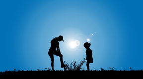 Vector silhouettes of family. Stock Photography