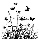 Vector silhouettes of flowers and grass with butterflies Stock Images