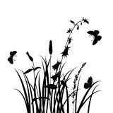 Vector silhouettes of flowers and grass with butterflies Stock Image