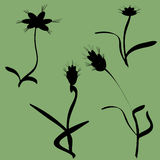 Vector silhouettes of flowers. Stock Image