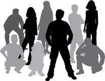 Vector silhouettes friends (man and women). Illustration Royalty Free Stock Photos
