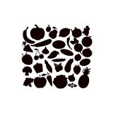 Vector silhouettes of fruits vegetables, berries on a white background. stock illustration