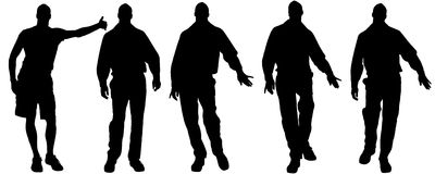 Vector silhouettes of gay. Vector silhouettes of men who are gay Royalty Free Stock Image