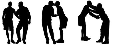 Vector silhouettes of gay. Vector silhouettes of men who are gay Stock Photography