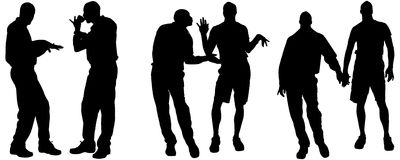 Vector silhouettes of gay. Vector silhouettes of men who are gay Stock Images