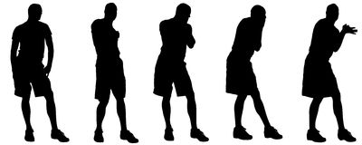 Vector silhouettes of gay. Vector silhouettes of men who are gay Royalty Free Stock Images