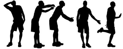 Vector silhouettes of gay. Vector silhouettes of men who are gay Royalty Free Stock Photography