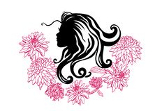 Vector silhouettes of girl hairstyles. profile. Girls Silhouette .Silhouette of beautiful woman with flower stock illustration