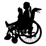 Vector silhouettes of girl in a wheelchair. Stock Photography