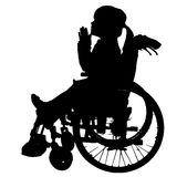Vector silhouettes of girl in a wheelchair. Vector Illustration