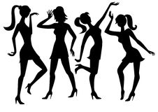 Vector silhouettes girls Royalty Free Stock Images