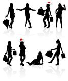 Vector silhouettes girls Stock Image