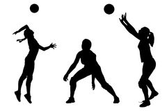 Vector silhouettes of girls classic volleyball. Set Royalty Free Stock Photography