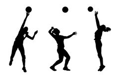 Vector silhouettes of girls classic volleyball. Set vector illustration