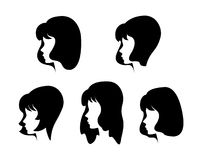 Vector silhouettes of girls. Fashion elegant black stock illustration