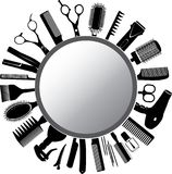 Tools of the hairdresser and mirror. Vector silhouettes of the hairdresser`s tools  and mirror Stock Images