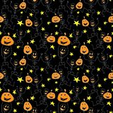 Vector silhouettes for Halloween. vector seamless pattern. stock illustration