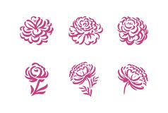 Vector silhouettes of hand drawn peony flowers isolated on white background illustration royalty free illustration