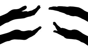 Vector silhouettes of hands. Stock Image