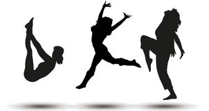 Vector silhouettes of jumping women Royalty Free Stock Images