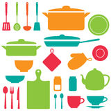 Vector silhouettes of kitchen tools Royalty Free Stock Image