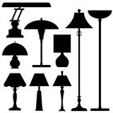 Vector silhouettes of lamps and lighting. Vector illustrations of lamps and lighting in silhouette for use as a design element Royalty Free Stock Images