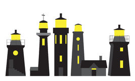 Vector silhouettes of lighthouses Royalty Free Stock Photography