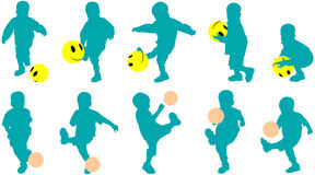Vector silhouettes little child as football player Stock Photography
