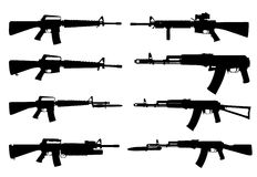 Vector silhouettes of machine guns. Royalty Free Stock Photo